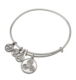BRACELETS & BANGLES CLEARANCE - SOLVAR SILVER TONE SPIRAL CHARM BANGLE - FINAL SALE