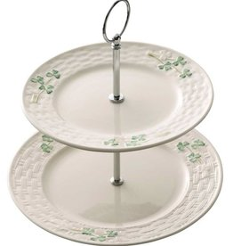 PLATES, TRAYS & DISHES BELLEEK SHAMROCK TIERED SERVER