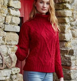 SWEATERS LADIES TRADITIONAL TURTLE NECK IRISH SWEATER - Garnet