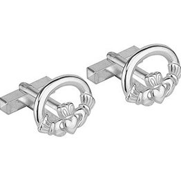 MENS JEWELRY SOLVAR RHODIUM PLATED CLADDAGH CUFFLINKS