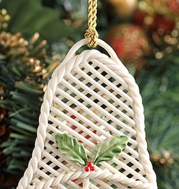 ORNAMENTS BELLEEK BASKET WEAVE BELL SHAPED ORNAMENT