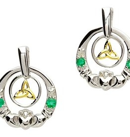 EARRINGS SHANORE STERLING DIAMOND & EMERALD CLADDAGH TRINITY EARRINGS