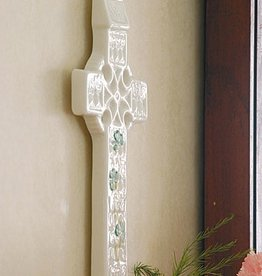 RELIGIOUS BELLEEK SHAMROCK WALL CROSS