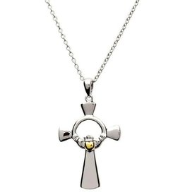 CROSSES SHANORE STERLING CLADDAGH CROSS with GP HEART