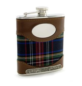 BAR MULLINGAR PEWTER LEATHER & TARTAN FLASK