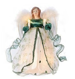 ANGELS LIGHTED ANGEL TREE TOPPER with FEATHER WINGS