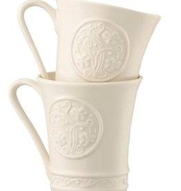 KITCHEN & ACCESSORIES SET OF 2 BELLEEK CRAFT SHAMROCK MUGS