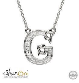 PENDANTS & NECKLACES CLEARANCE - SHANORE STERLING INITIAL PENDANT with SWAROVSKI CRYSTALS: G - FINAL SALE