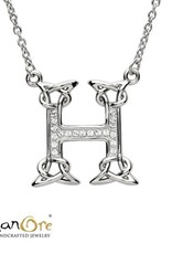 PENDANTS & NECKLACES CLEARANCE - SHANORE STERLING INITIAL PENDANT with SWAROVSKI CRYSTALS: H - FINAL SALE