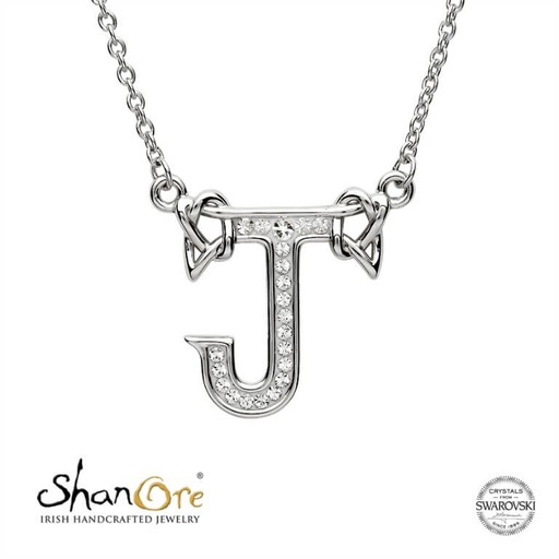 PENDANTS & NECKLACES SHANORE STERLING INITIAL PENDANT with SWAROVSKI CRYSTALS - J