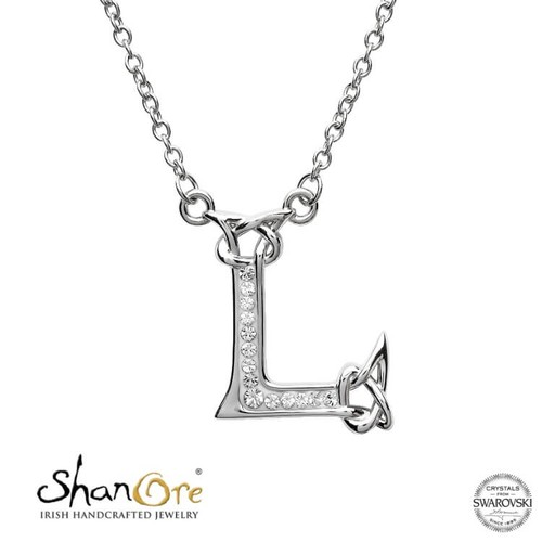 PENDANTS & NECKLACES CLEARANCE - SHANORE STERLING INITIAL PENDANT with SWAROVSKI CRYSTALS: L - FINAL SALE