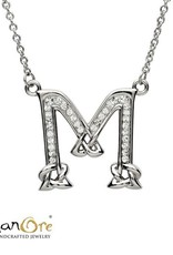 PENDANTS & NECKLACES SHANORE STERLING INITIAL PENDANT with SWAROVSKI CRYSTALS - M