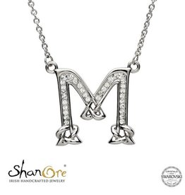 PENDANTS & NECKLACES CLEARANCE - SHANORE STERLING INITIAL PENDANT with SWAROVSKI CRYSTALS: M - FINAL SALE
