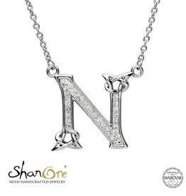 PENDANTS & NECKLACES CLEARANCE - SHANORE STERLING INITIAL PENDANT with SWAROVSKI CRYSTALS: N - FINAL SALE