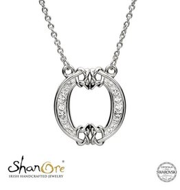 PENDANTS & NECKLACES SHANORE STERLING INITIAL PENDANT with SWAROVSKI CRYSTALS - O