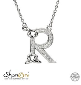 PENDANTS & NECKLACES CLEARANCE - SHANORE STERLING INITIAL PENDANT with SWAROVSKI CRYSTALS: R - FINAL SALE