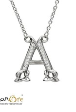PENDANTS & NECKLACES SHANORE STERLING INITIAL PENDANT with SWAROVSKI CRYSTALS - A
