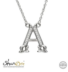 PENDANTS & NECKLACES CLEARANCE - SHANORE STERLING INITIAL PENDANT with SWAROVSKI CRYSTALS: A - FINAL SALE