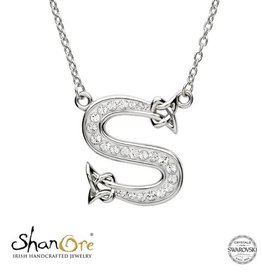 PENDANTS & NECKLACES CLEARANCE - SHANORE STERLING INITIAL PENDANT with SWAROVSKI CRYSTALS: S - FINAL SALE