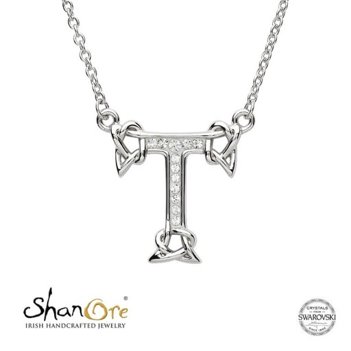 PENDANTS & NECKLACES CLEARANCE - SHANORE STERLING INITIAL PENDANT with SWAROVSKI CRYSTALS: T - FINAL SALE