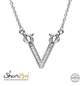 PENDANTS & NECKLACES SHANORE STERLING INITIAL PENDANT with SWAROVSKI CRYSTALS - V