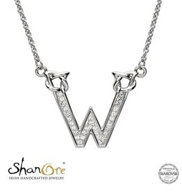 PENDANTS & NECKLACES CLEARANCE - SHANORE STERLING INITIAL PENDANT with SWAROVSKI CRYSTALS: W - FINAL SALE