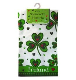 KITCHEN & ACCESSORIES SHAMROCK & HEART 2 TEA TOWEL SET
