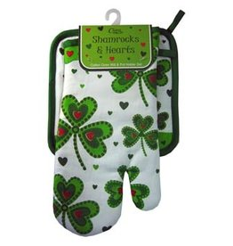 KITCHEN & ACCESSORIES SHAMROCK & HEART OVEN MITT & POT HOLDER