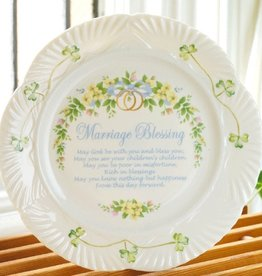 PLATES, TRAYS & DISHES BELLEEK HARP MARRIAGE BLESSING PLATE