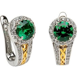 EARRINGS SHANORE STERLING CELTIC HALO EARRINGS with GREEN CZ