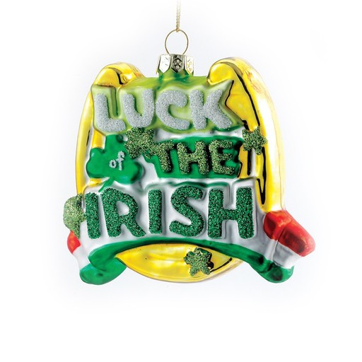 "ORNAMENTS ""LUCK OF THE IRISH"" GLASS ORNAMENT"