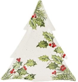 HOLIDAY TREE SHAPED HOLLY LEAF PLATTER
