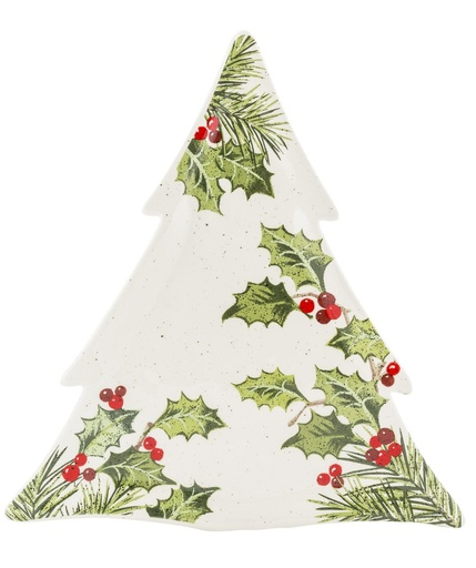 Tree Shaped Holly Leaf Platter Irish Crossroads