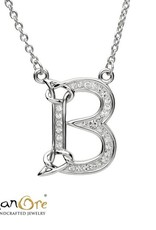 PENDANTS & NECKLACES SHANORE STERLING INITIAL PENDANT with SWAROVSKI CRYSTALS - B