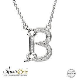 PENDANTS & NECKLACES CLEARANCE - SHANORE STERLING INITIAL PENDANT with SWAROVSKI CRYSTALS: B - FINAL SALE
