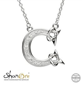 PENDANTS & NECKLACES SHANORE STERLING INITIAL PENDANT with SWAROVSKI CRYSTALS - C