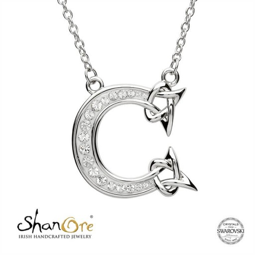 PENDANTS & NECKLACES CLEARANCE - SHANORE STERLING INITIAL PENDANT with SWAROVSKI CRYSTALS: C - FINAL SALE