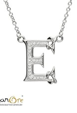 PENDANTS & NECKLACES CLEARANCE - SHANORE STERLING INITIAL PENDANT with SWAROVSKI CRYSTALS: E - FINAL SALE