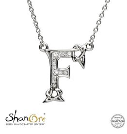 PENDANTS & NECKLACES CLEARANCE - SHANORE STERLING INITIAL PENDANT with SWAROVSKI CRYSTALS: F - FINAL SALE