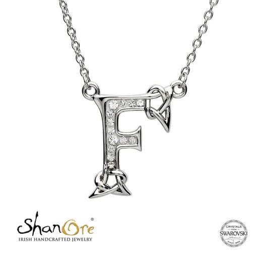 PENDANTS & NECKLACES SHANORE STERLING INITIAL PENDANT with SWAROVSKI CRYSTALS - F