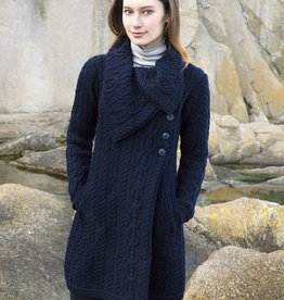 SWEATERS LADIES CHUNKY COLLAR IRISH SWEATER COAT with BUTTONS
