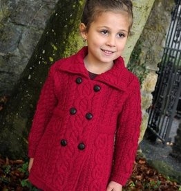 KIDS CLOTHES CHILDREN'S DOUBLE BUTTON KNIT COAT - Garnet