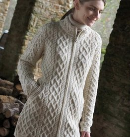 ACCESSORIES LONG PLATED CABLE KNIT ZIP COAT