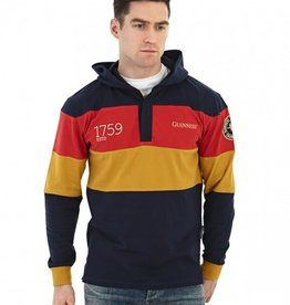 SWEATSHIRTS CLEARANCE - GUINNESS NAVY PANELLED HOODED RUGBY - FINAL SALE