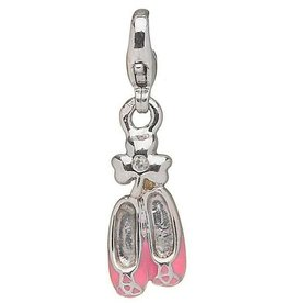 CHARMS CLEARANCE - LITTLE MISS STERLING DANCE SHOES CHARM with REAL DIAMOND - FINAL SALE
