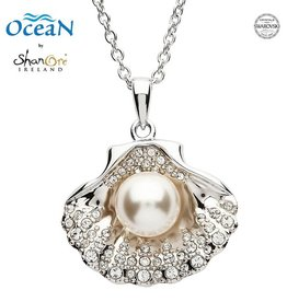 PENDANTS & NECKLACES OCEAN STERLING SHELL PENDANT with PEARL & SWAROVSKI CRYSTALS