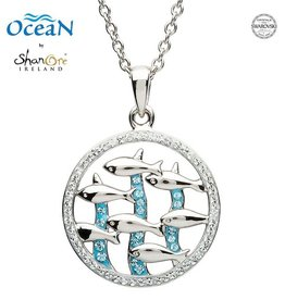 PENDANTS & NECKLACES OCEANS STERLING FISH PENDANT with SWAROVSKI CRYSTALS