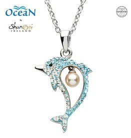 PENDANTS & NECKLACES OCEAN STERLING DOLPHIN PENDANT with PEARL & SWAROVSKI CRYSTALS