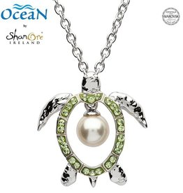 PENDANTS & NECKLACES OCEAN STERLING TURTLE PENDANT with PEARL & SWAROVSKI CRYSTALS