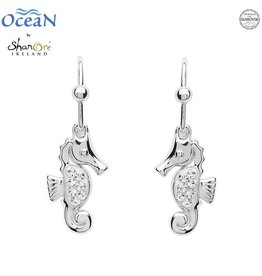 EARRINGS OCEANS STERLING MINI SEAHORSE DROP EARRINGS with SWAROVSKI CRYSTALS